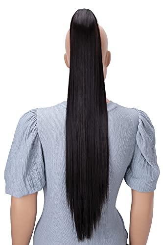 PRETTYSHOP 70cm Haarteil Zopf Pferdeschwanz Haarverlängerung Glatt Dunkelbraun H170