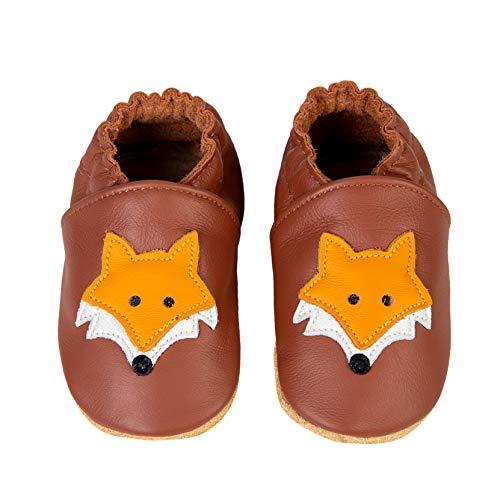 Chaussons Bébé Premiers Pas Chaussures Cuir Souple Bébé Fille Garçon Mignon Colorée Animaux Pantoufles 0-6 Mois - 2Ans(Brun Renarde, 12-18 Mois)