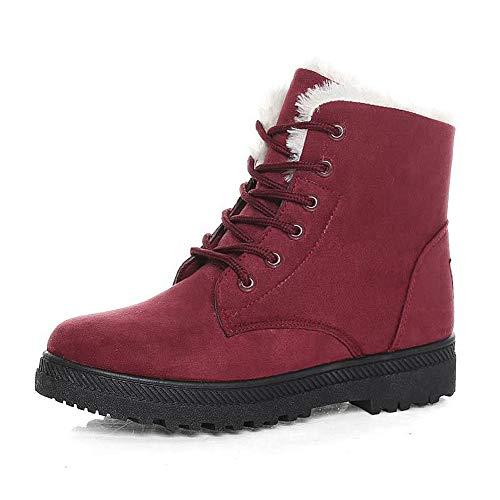 SHIBEVER Winter Boots for Women Platform Cotton Warm Fur Snow Ankle Boot Lace Up Flat Booties Cute Plus Size Shoes Burgundy 10
