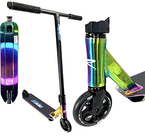 Rideoo Patinete Flyby Stunt-Scooter H = 84,5 cm Niños Trick Tret Park Roller + Fantic26 (Rainbow Neochrome)