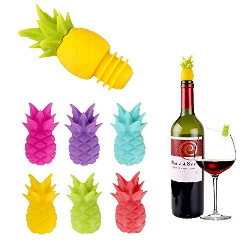 7PZ Identificatore Bicchiere di Vino Ananas Tappi per Bottiglie Vino Marcatori per Bicchieri Vino Marcatori per Bevande Silicone Identificatori Vetro Riutilizzabili Contrassegno di Accessori per Vino