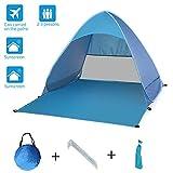 Yuanj Tenda da Spiaggia Pop-up, Tenda da Campeggio Portatile con Protezione Solare UPF 50+ per 2-3 Persone, per Campeggio Giardino Spiaggia Include Borsa Portatile