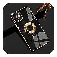 MuuYuu Compatible for iPhone 12 11 Pro Max XS XR XS 7 8 Plus SE2020ミニメッキシリコンTPUソフトカバー用リングホルダースタンド付きラグジュアリーリングケース-T3-Compatible for iPhone 8