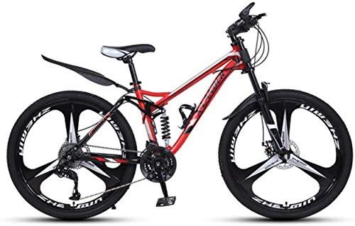 Mountainbikes, 24-Zoll-Downhill Weiche Schwanz-Mountainbike-variable Geschwindigkeit Männer und Frauen-Dreirad-Mountainbike Aluminiumrahmen mit Scheibenbremsen ( Color : Black red , Size : 30 speed )