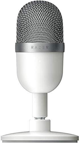 Razer Seiren Mini Micrófono compacto para USB para streaming, compacto con patrón polar supercardioide, soporte inclinable, amortiguador integrado, Mercury / Blanco