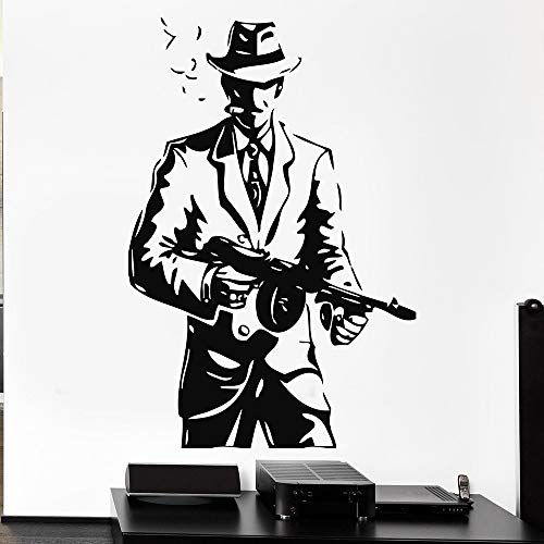 wZUN Gangster Hut Pistole Waffe Mafia Vinyl Wandtattoo Home Decor Art Wandbild Abnehmbare Wandaufkleber 64x96cm