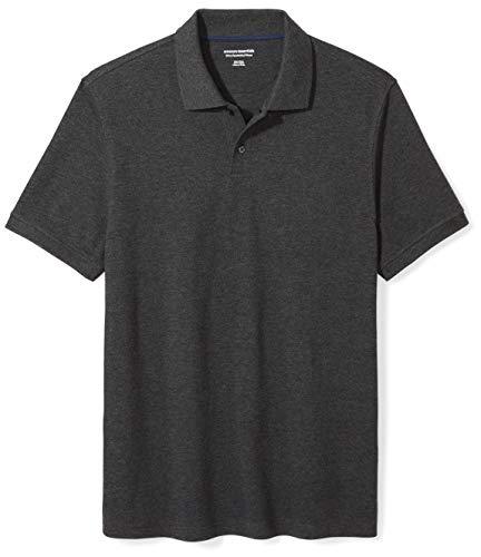 Amazon Essentials Slim-Fit Cotton Pique Polo Shirt Poloshirt, Charcoal Heather, X-Large