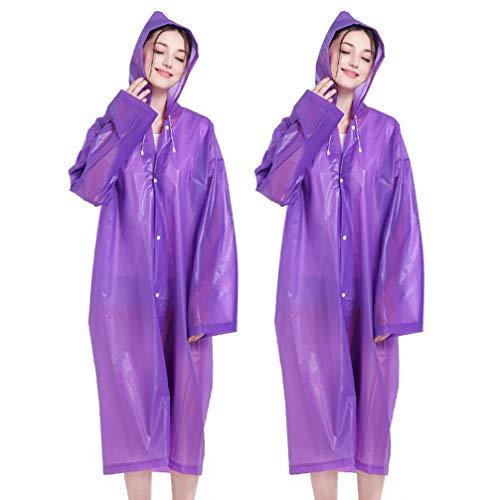 TENDYCOCO - Set di 2 tute protettive con cappuccio, impermeabili, riutilizzabili, impermeabili, protezione da lavoro, per attività all'aperto, colore: rosa