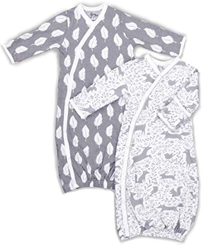 Cambria Baby 100% Organic Grey Kimono Gowns. Side Snaps. Built in Mitts. 2 Pk. 0-3