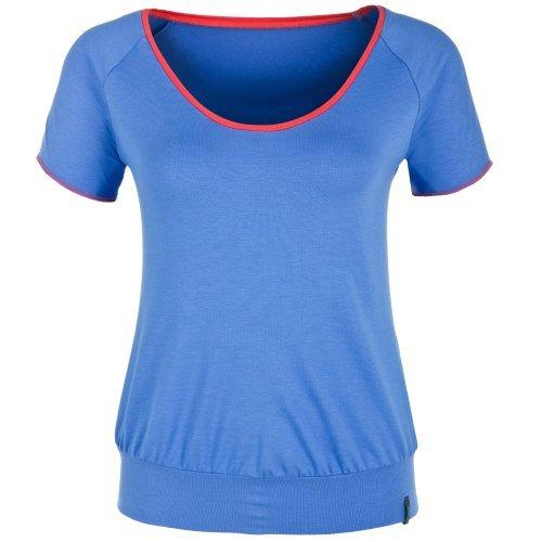 Femme t-shirt de yoga bleu/abricot sITA shirt de montagne chapeau et balance Medium - Blau/Apricot