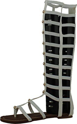 Wild Rose Odelia04 Womens Leatherette Open Toe Studded Knee High Gladiator Sandals,White,7.5