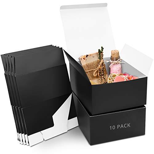 Belle Vous Geschenkboxen Kraftpapier Schwarz (10 Stk) – Karton Schachteln 20x20x10cm – Pappschachteln mit Deckel Einfach Aufzubauen – Geschenkbox Quadratisch für Geschenke, Party, Geburtstag, Hochzeit