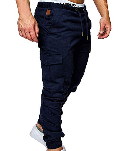 WESIDOM Men's Cargo Pants Jogger Jeans Combat Elasticated Waist Casual Trouser Outdoor Hiking Sweatpants Navy Blue