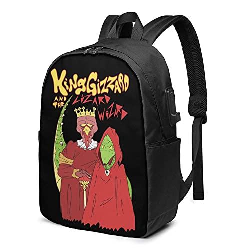 XCNGG King Gizzard and Lizard Wizard Music Travel Mochila, Mochila para portátil para Hombres y Mujeres, Mochila de 17 Pulgadas con Puerto de Carga USB