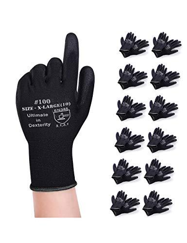 Donfri 12 pares de guantes de trabajo, guantes de jardinería, guantes de protección, guantes de taller con revestimiento de poliuretano, guantes de trabajo multifuncionales (8/M)