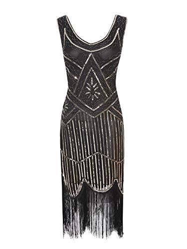 Viloree 1920 Pailletten verschönert Quasten Falten Flapper Damen Mini Kleid Party Gastby Motto Gold Schwarz S