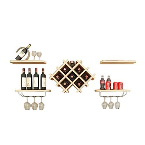 Estantería de vino Bastidores de vino pueden apoyar la madera de doble pared, el vidrio puede estar expuesto fácilmente instalado, utilizado en la barra de hogar moderno con dimensiones de 129 * 36 *