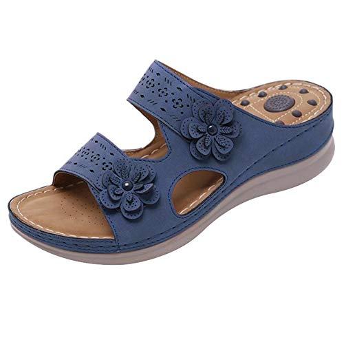 Gelentea - Pantofole da donna ortopediche con punta aperta, stile retrò, antiscivolo, traspiranti, estive