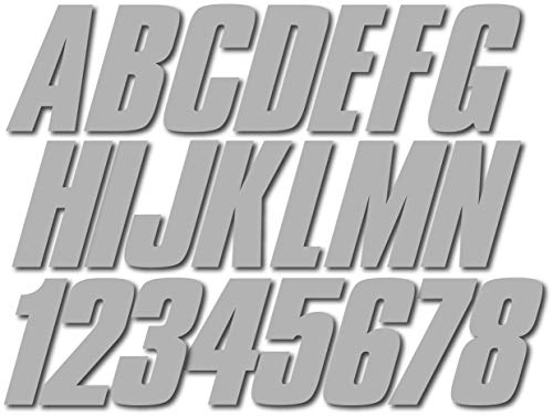 Stiffie Shift Metallic Silver Super Sticky 3' Alpha Numeric Registration Identification Numbers Stickers Decals for Sea-Doo Spark, Inflatable Boats, Ribs, Hypalon/PVC, PWC and Boats.