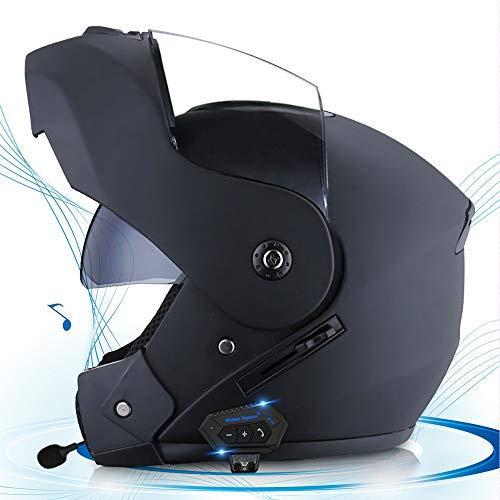 Casco Moto Apribile Bluetooth Casco Modulare con Doppia Visiera Anti-Appannamento HD Bluetooth Integrato per Casco da Motociclista Certificazione DOT/ECE Unisex (54-61CM)