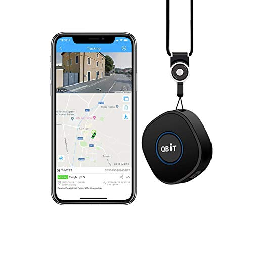 GPS Tracker, Qbit Portable GPS Tracker Mini Locator with Real-Time GPS Tracking Geo-fence and SOS Alarms Two-way Talks Voice Monitoring for Children Kids Seniors Elderly Pets Luggage Wallet Bycicle