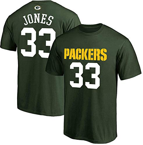 NFL Youth 8-20 Team Color Polyester Performance Mainliner Player Name and Number Jersey T-Shirt (Large 14/16, Aaron Jones Green Bay Packers Green Home)