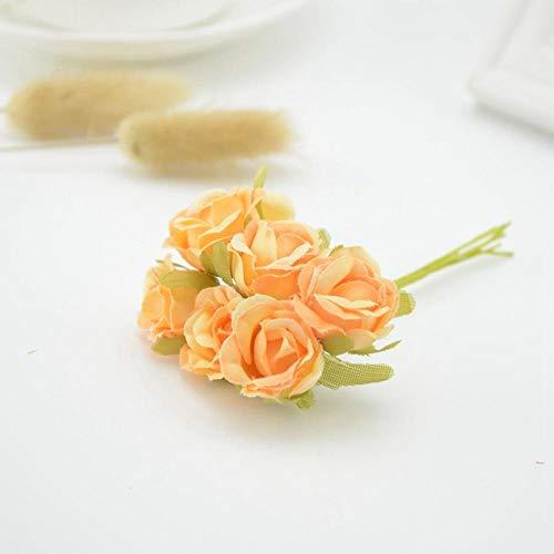 Zyf 6 stuks zijden rozen bloemen kunstbloemen goedkoop boeket in huis bruiloftsdecoratie DIY krans geschenken champagne