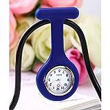 BAIDEFENG Montre infirmière avec Pince,Mini Montre Portable, Montre de Poche Silicone infirmière-Bleu,Montres pour Infirmier Pendentif