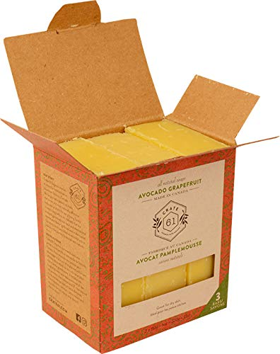 Crate 61 Avocado Grapefruit Soap 3 pack, 100% Vegan Cold Process, scented with premium essential oils, for men and women, face and body. ISO 9001 certified manufacturer
