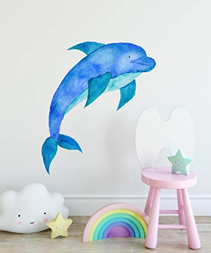 Baby Dolphin Wall Decal Dolphin Wall Sticker Cute Dolphin Watercolor Wall Art Nautical Nursery Decor Baby Shower Gift Kids Room Decor