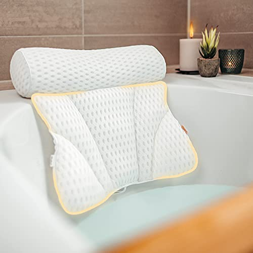 Vybelle® Badewannenkissen atmungsaktiver 4D Air Mesh [perfekte ergonomische Passform] Badekissen für Entspannung von Nacken und Rücken – inkl. extra Tragetasche – Bath tub Pillow Designed in Germany