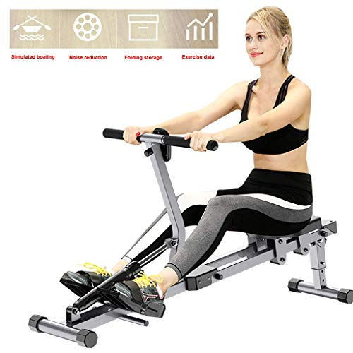 XBSLJ Rudergerâte für zuhause Rudergeräte für den Heimgebrauch, Faltbare Rudergeräte, 12 Einstellungen für den hydraulischen Widerstand, Multifunktionsdisplay, Cardio Rower Workout Fitness Body