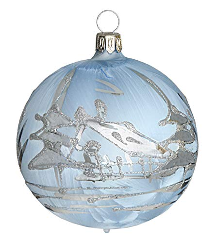 Jingle Bells Lauscha Ball Ice Blue with Silver Winter Landscape 8 cm Pack of 4 per Box