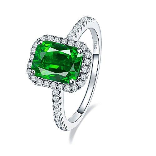 Frau 3,6 CT Smaragd Cut Smaragd Grün 925 Sterling Silber Ring
