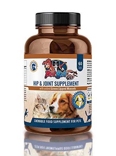 Petset Go Advance Joint Care Supplements - Glucosamine, Green Lipped Mussel, Chondroitin & Vitamin C - 60 Chicken Flavoured Chewable Tablets