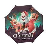 Mr.XZY Merry Christmas 2010343 Paraguas invertido de Papá Noel para invierno, resistente al viento, protección UV, doble capa, con mango en forma de C
