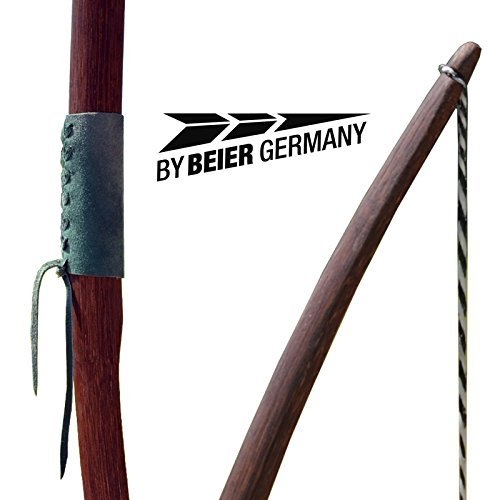 by Beier Germany Strongbow Marksman - Arco Lungo con Manico in Pelle, Colore: Naturale Scuro