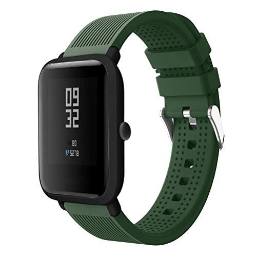 Correas Huami Amazfit Bip, CNBOY Deporte Suave Silicona Reloj Banda Wirstband Accesorios para Huami Amazfit Bip Watch (Ejercito verde)