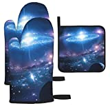 NiYoung A Pair Baking Mitts and Hot Pads for Cooking Mens Funny Galaxy Nebula Sparking Planet Pattern Oven Gloves and Potholder Gift for Chef