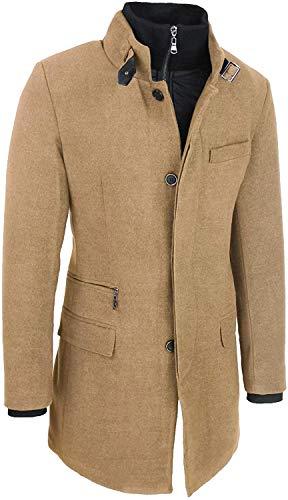 Evoga Cappotto Uomo Sartoriale Elegante Slim Fit Invernale Giacca Soprabito con Gilet Interno (XL, Beige)