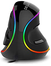 DELUX verticale muis, bedrade ergonomische muis met RGB-verlichting, 5 instelbare DPI (800-1200-1600-2400-4000 DPI), 6 knoppen, verwijderbare polssteun, optische muis voor laptopcomputer