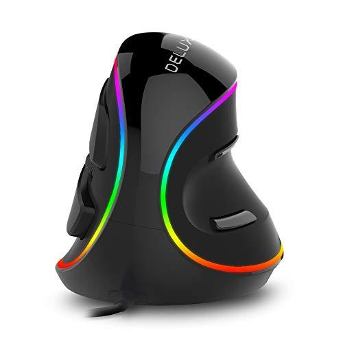 DELUX Mouse verticale ergonomico con illuminazione RGB, 5 DPI regolabili (800-1200-1600-2400-4000 DPI), 6 pulsanti, poggiapolsi rimovibile, mouse ottico per computer portatile
