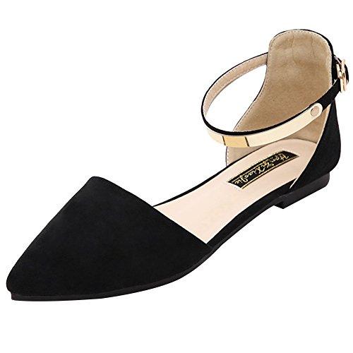 Jamron Mujer Dedo Punteado Terciopelo Bailarinas Elegante D'orsay Pumps Plano Zapatos de Vestir Negro SN02330 EU37 🔥