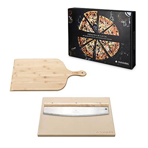 Navaris Pietra Refrattaria per Cottura Pizza - per Cuocere nel Forno Pane Pizze - Teglia Rettangolare 38x30cm Cordierite 800° con Pala e Mezzaluna