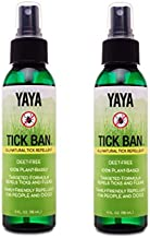 TICK BAN Yaya Organics Extra Strength Tick Repellent Made with Essential Oils and All Natural, DEET Free Ingredients | Proven Effective, Safe for Adults, Kids and Dogs | 4 Ounce 2 Pack