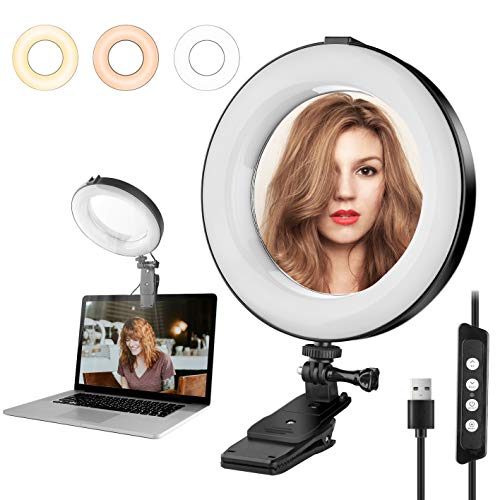 """8.2"""" Desk Ring Light with Mirror for Laptop & Computer, Ringlight with Clip Clamp Mount for Video Conferencing 3200k-6500K Dimmable Ring Lights Clip on Laptop Monitor for Zoom Meetings, Live Stream"""