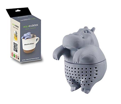 HelpCuisine® teesieb teeei teefilter tea infuser teekugel in Nilpferd-Form, Modernes Design aus hochwertigem Silikon 100% BPA frei, 1St. in Grau in der Originalen HelpCuisine-Verpackung