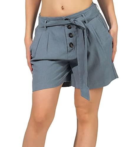 ONLY Damen Shorts ONLViva-Emery Kurze Hose mit Binde-Gürtel 15222279 Blue Mirage S