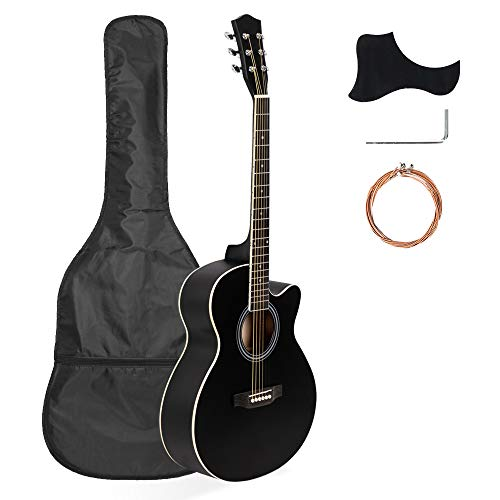 Full-Size Acoustic Guita,Best Choice Products 40in Full Size Beginner Acoustic Cutaway Guitar Set,Basswood, Guitar,Christmas Present,Black
