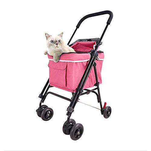 Huisdier kinderwagen, hond vervoerder, Trolley, Traile, Buggy Comfort met luchtgevulde banden, opvouwbare huisdier Buggy, kinderwagen, kinderwagen voor honden en katten,44 * 57 * 94cm,roze